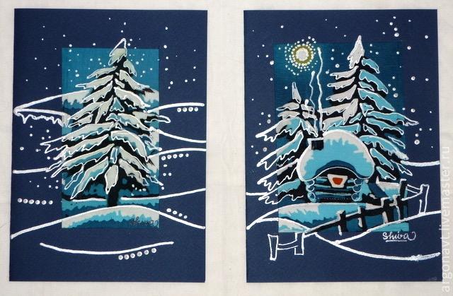 Аукцион, рисование новогодней открытки мастер класс
